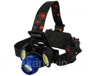 Налобный фонарь с ТРЕМЯ светодиодами и ДВУМЯ сменными аКкумуляторами