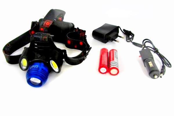 Налобный фонарь с ТРЕМЯ светодиодами и ДВУМЯ сменными аккумуляторами 12 чаов для рыбалки, охоты, туризма