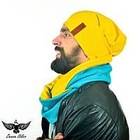 Двухцветный набор: желтая шапочка и желто-бирюзовый шарф-снуд., фото 1