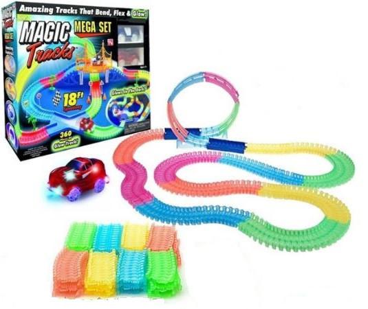 Гибкая детская игрушечная дорога Magic Tracks конструктор 220 деталей светящаяся гоночная трасса Меджик Трек