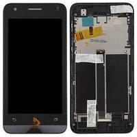 Дисплей для Asus ZenFone C (ZC451CG) с тачскрином (Модуль) черный, с передней панелью (рамкой)