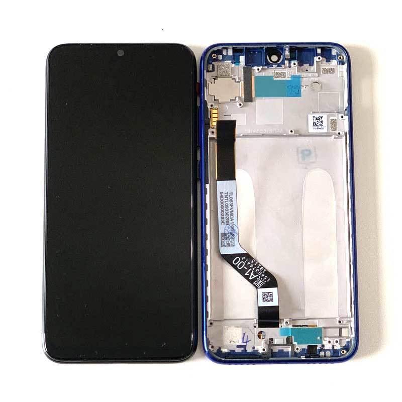 Дисплей для Xiaomi Redmi Note 7 с тачскрином (Модуль) черный, с передней панелью (рамкой) синего цвета