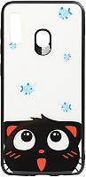 Чехол-накладка TOTO Cartoon Print Glass Case Huawei Y7 2019 Cat and fish