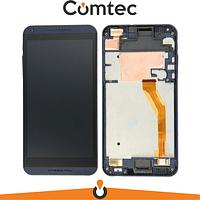 Дисплей для HTC 816 Desire с тачскрином (Модуль) черный, с передней панелью (рамкой) синего цвета, желтый шлейф