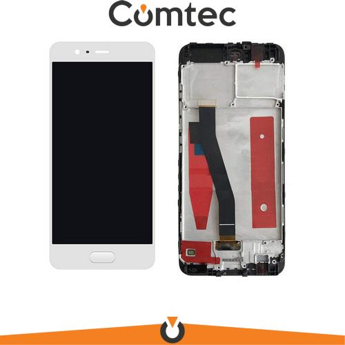 Дисплей для Huawei P10 (VTR-L09/VTR-L29) с тачскрином (Модуль) белый, с передней панелью (рамкой) золотистого цвета