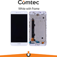 Дисплей для Huawei Y6 Pro (TIT-U02/TIT-AL00)/Enjoy 5/Honor Play 5X с тачскрином (Модуль) белый, с передней панелью (рамкой), оригинал