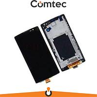 Дисплей для LG H422 Spirit Y70/H440/H442/H420 с тачскрином (Модуль) черный, с передней панелью (рамкой), оригинал