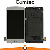 Дисплей для LG K350E K8 (2016)/K350N/Phoenix 2 с тачскрином (Модуль) белый, с передней панелью (рамкой)