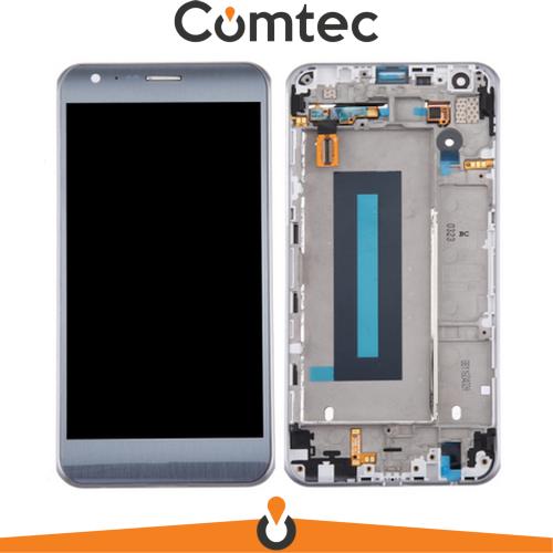 Дисплей для LG K580 X Cam с тачскрином (Модуль) серебристый, Titan Silver, с передней панелью (рамкой), оригинал