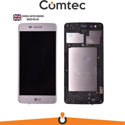 Дисплей для LG M200N K8 (2017)/M210 Aristo/MS210/US215 K8 2017 с тачскрином (Модуль) серебристый, с передней панелью (рамкой), оригинал, 40 pin
