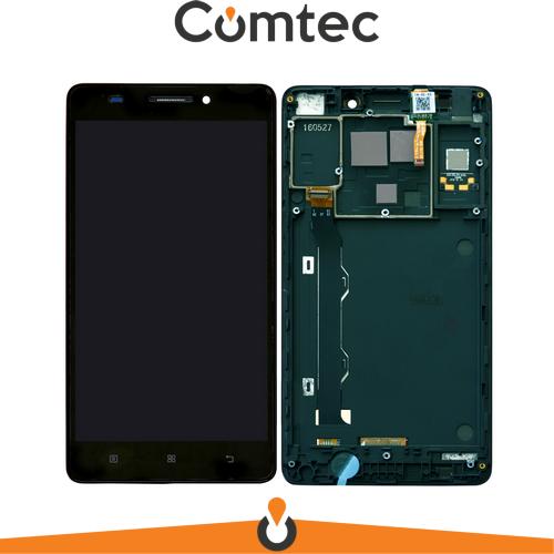 Дисплей для Lenovo A7000 + touchscreen (720 x 1280), черный, с передней панелью (рамкой), оригинал