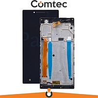 Дисплей для Lenovo P70 с тачскрином (Модуль) черный, с передней панелью (рамкой)