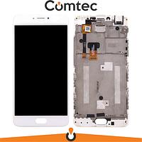 Дисплей для Meizu M3 Note (M681H) с тачскрином (Модуль) белый, с передней панелью (рамкой), 30 pin