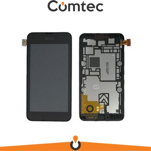 Дисплей для Nokia 530 Lumia (RM-1017/RM-1019) с тачскрином (Модуль) черный, с передней панелью (рамкой)