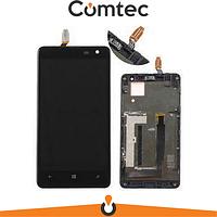 Дисплей для Nokia 625 Lumia (RM-941) с тачскрином (Модуль) черный, с передней панелью (рамкой)