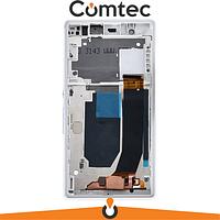 Дисплей для Sony C6602 Xperia Z L36h/C6603 L36i/C6606 L36a с тачскрином (Модуль) белый, с передней панелью (рамкой)