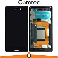 Дисплей для Sony E2312 Xperia M4 Aqua Dual Sim/E2333/E2363 с тачскрином (Модуль) черный, с передней панелью (рамкой), оригинал