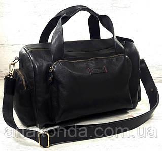 ВсДм Натуральная кожа, Ручная кладь - дорожная сумка кожаная черная Сумка мужская из натуральной кожи черная