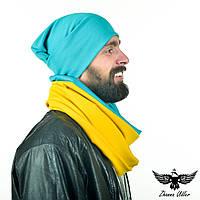 Набор двухцветный: бирюзовая шапочка и желто-бирюзовый шарф-снуд, фото 1
