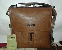 Мужская сумка через плечо Jeep SL-S-8 коричневая, эко-кожа, регулировка ремня, 5 отделений, фото 1