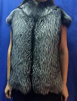 Кожаный жилет с мехом чернобурки, фото 1