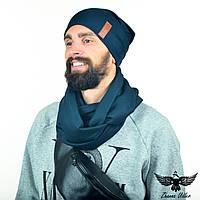 Темно-синий набор: двусторонний шарф-снуд + двойная шапочка , фото 1