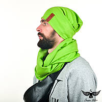 Набор салатового цвета: двусторонний шарф-снуд + двойная шапочка, фото 1