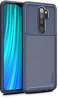 Чехол-накладка Ipaky Carbon Fiber Series/Soft TPU Case Xiaomi Redmi Note 8 Pro Navy Blue
