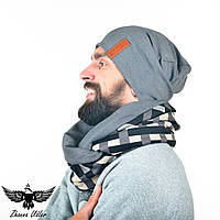 Набор серого цвета: шапка + шарф-снуд. unisex, фото 1