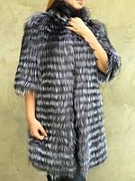 Стильное пальто из меха чернобурки