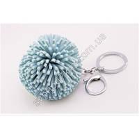 Оригинальный брелок для ключей, брелок для сумок с карабином пушистый шарик голубого цвета