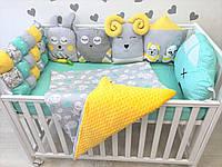 Детский постельный набор постель с бортиками в кроватку Зверьки (2233)