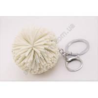 Оригинальный брелок для ключей, брелок для сумок с карабином пушистый шарик белого цвета