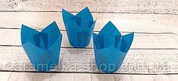 Формы бумажные для кексов Тюльпан 50*75 мм, Синий
