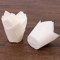 Формы бумажные для кексов Тюльпан 50*75 мм, Белый