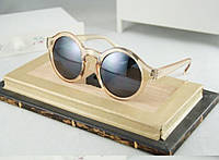 Солнцезащитные круглые очки с прозрачным пластиком оправы, светлый бежевый цвет, фото 1