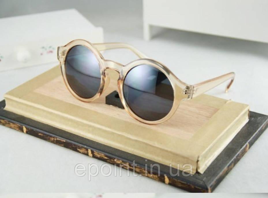 fa1b1a55a1de Солнцезащитные круглые очки с прозрачным пластиком оправы, светлый бежевый  цвет - Интернет-магазин