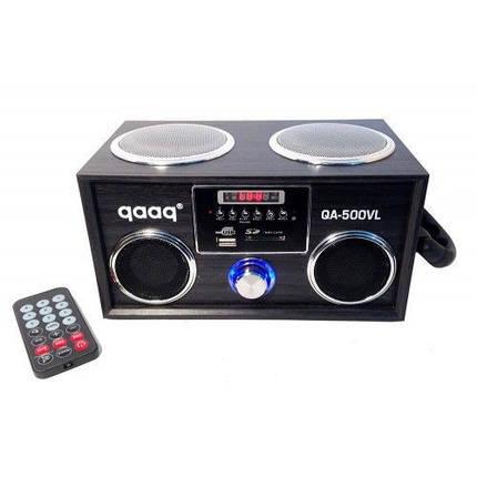 """Акустическая Портативная система """"QAAQ"""" QA-500VL встроенный аккумулятор AUX/MP3/USB/SD Пульт ДУ, фото 2"""