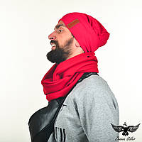 Набор красного цвета: шапка + шарф-снуд. unisex, фото 1