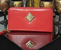 Женский кожаный кошелек в красном цвете со стразами сваровски SALFEITE (Салфет) ОРИГИНАЛ
