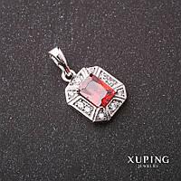 Кулон Xuping с камнем цвет красный 10х12х20мм родий