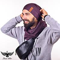 Набор коричневого цвета: шапка + шарф-снуд. unisex, фото 1