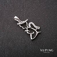 Кулон Xuping Ангел стразы цвет белый 14х21х27мм родий