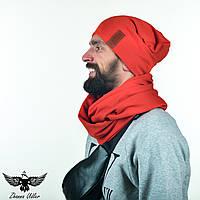 Набор оранжевого цвета: шапка + шарф-снуд. unisex, фото 1