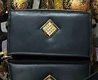 Женский кожаный кошелек в черном цвете со стразами Сваровски SALFEITE (Салфет) ОРИГИНАЛ