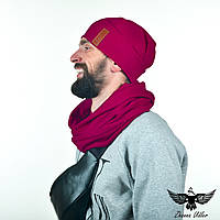 Темно-вишневый набор: шапка и шарф-снуд, фото 1