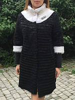 Черное комбинированое  пальто из меха нутрии