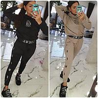 Костюм спортивный женский с капюшоном, укороченная кофта на резинке, двунить, штаны зауженные, с карманами, фото 1