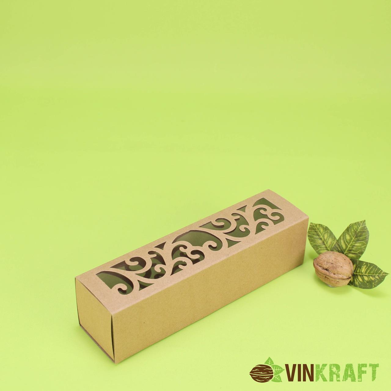 Коробка 200*50*50 для макарун з фігурним вікном, крафт