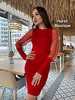 Стильное вязаное платье с прозрачными рукавами